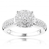 Cluster Rings: Round Diamond Engagement Ring 1 carat 14K Gold