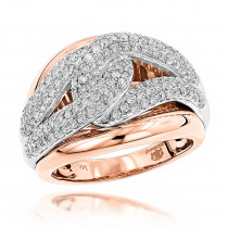 Cocktail RIngs: Luxurman Love Knot Diamond Ring for Women 14K Gold 1.25ct