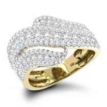 Cocktail Rings: Luxurman Massive Ladies Diamond Wave Ring 14K Gold 1.65ct