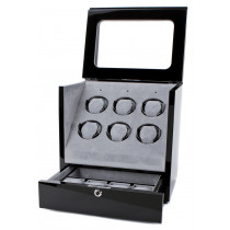 Collectors Watches: Multi-Function Black 6 Slot Watch Winder WW-1005-P1-03