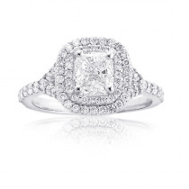 Cushion Cut Halo Engagement Rings: Custom Platinum Diamond Ring 1.59ct