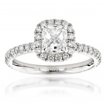 GIA Cushion Cut Diamond Engagement Ring 2.07ct 14K Gold Halo