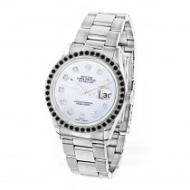 Custom Black Diamond Bezel Rolex Datejust Mens Watch 3ct