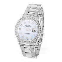 Custom Diamond Bezel Rolex Datejust Mens Watch 3ct