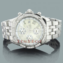 Custom Diamond Breitling Watch: Luxury Mens Watches 2.8ct