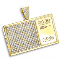 Custom Jewelry: 10K Gold Diamond Digital Scale Mens Pendant 4ct