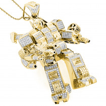 Custom Jewelry: 3-D Transformer Diamond Pendant 1.25ct Gold Plated