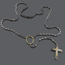 Custom Jewelry: Color Diamond Rosary Necklace 10K