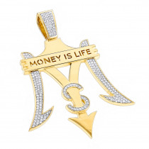 Custom Jewelry: Money is Life Diamond Pendant for Men 10K Gold 4ct