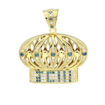 Custom Made Jewelry White & Blue Diamond Crown Pendant for Men in 14k Gold
