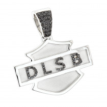 Custom Made Name Black Diamond Pendant for Men 14K Gold 0.55ct
