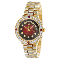 Custom Mens 18k Gold Rolex Day-Date President Diamond and Ruby Watch 15ct