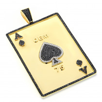 Custom Mens Pendands: Ace of Spades Diamond Pendant 10k Solid Gold 11.45ct
