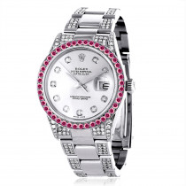 Custom Red Ruby Bezel White Diamond Rolex Datejust Mens Watch 7ct