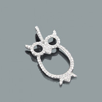Cute Diamond Owl Pendant 0.31ct 10K Gold Charm