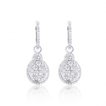 Dangle Diamond Oval Shaped Earrings 1.95ct 14K
