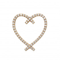 Designer 14 Karat Gold Diamond Heart Pendant 0.63ct