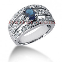 Designer Diamond and Blue Sapphire Engagement Ring 14K 0.51ctd 0.75cts