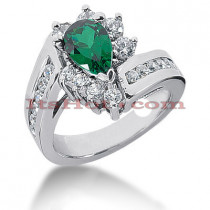 Designer Diamond and Emerald Engagement Ring 14K 0.96ctd 1.50cte