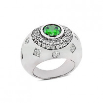 Designer Diamond and Emerald Ring 14K 1.28ctd 1.25cte