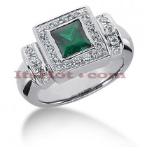 Designer Diamond and Emerald Ring in 14K Gold 0.42ctd 1.25cte