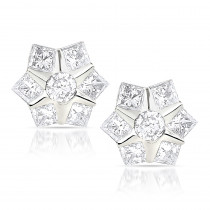 Designer Diamond Stud Earrings 0.78ct 10K Gold Stars