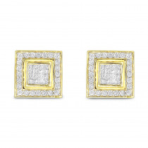 Designer Earrings 14K Gold Diamond Earrings Studs 1.24