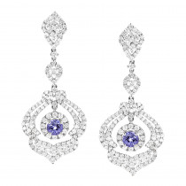 Designer Gemstone Jewelry: 18K Gold Diamond Tanzanite Dangle Earrings