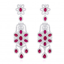 Designer Jewelry: Chandelier Ruby Diamond Earrings By Luxurman 14K Gold