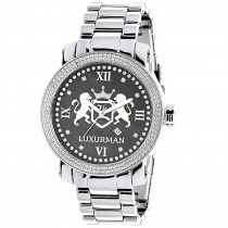Designer Large Watches: Luxurman Phantom Real Diamond Watch for Men 0.12ct