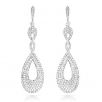 Designer Luxurman Diamond Drop Swirl Earrings for Women 3.5ct in 14k Gold