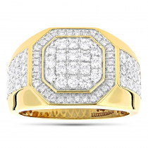 Designer Men's Diamond Ring in 14k Gold by Luxurman 1.8ct