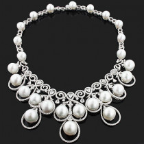 Designer Pearl Necklace with Diamonds 17.96ct 18K Gold Luccello Jewelry