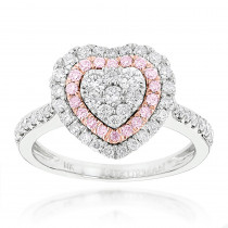 Designer Rings Unique White Pink Diamonds Heart Ring for Women 14k Gold 1ct