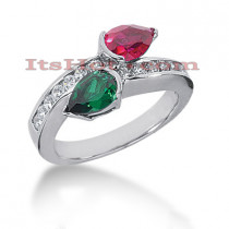 Designer Ruby and Emerald Diamond Ring 14K 0.42ctd