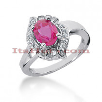 Designer Ruby Engagement Ring with Diamonds 14K 0.42ctd 1.25ctr