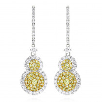 Designer White Yellow Diamond Drop Earrings for Women Circle Design 14K 2ct