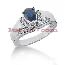 Diamond and Blue Sapphire Engagement Rings: 14K Gold Ring 0.21ctd 0.75cts