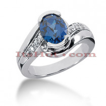 Diamond and Blue Sapphire Engagement Rings: 14K Gold Ring .16ctd 2cts