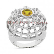 Diamond and Yellow Sapphire Cocktail Ring 14K 0.76ctd 1.00cts