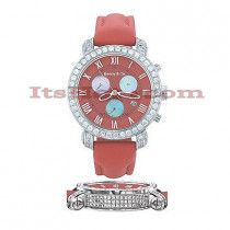 Diamond Benny and Co Watch Mens 4ct Red