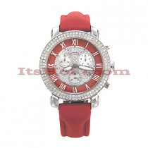 Diamond Benny Co Watch Ice Dial Watch 2.9ct Mens Red