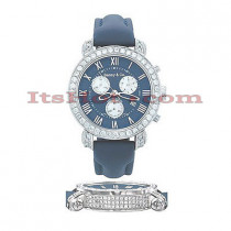 Diamond Benny Co Watch Mens 4ct Navy
