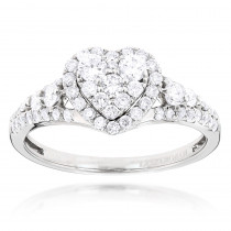 Diamond Cluster Heart Engagement Ring in 14k Gold 1ct G-H VS-SI Diamonds