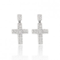 Diamond Cross Earrings 0.8ct Sterling Silver