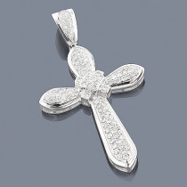 Diamond Cross Necklace 14K 1.78ct