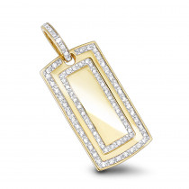 Diamond Dog Tag Military Pendant With Diamonds 1ct