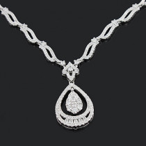 Diamond Drop Pendant Necklace 2.01ct 14K Gold
