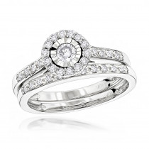 Diamond Engagement Ring Set 10K Gold 1.5ct Look