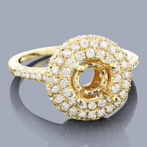 Halo Diamond Engagement Ring Setting 1.63ct 14K Gold